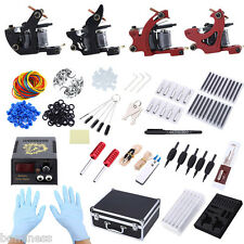 Tattoo Kit 4 Machine Guns Shader Liner Power Supply Needles Tips with Storage