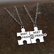 2X Best Friends Pendant Necklaces Friendship Puzzle Letters Chain Necklace SE