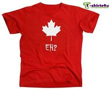 EH? CANADA Maple Leaf Funny Canadian College Hockey Vintage T-Shirt NEW - Red