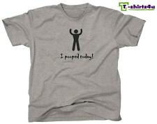 I POOPED TODAY! Funny Cool Party Humor Retro College Tee - T-Shirt - NEW - Grey