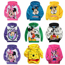 Kids Boys Girls Mickey Minnie Mouse Long Sleeve Hoodies Sweatshirt Coat Pullover