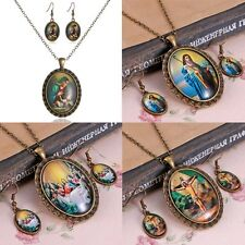 Retro Bronze Literary Figures Jesus Necklace Earring Jewelry Set Friend Gift