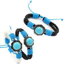 1PCS Braided Cord Charm Bracelets Wristbands Leather Turquoise Women Bangle Chic
