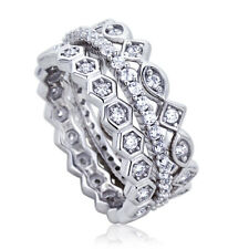 8mm Platinum Plated Silver 1ct CZ Stackable Band Wedding Engagement Ring set