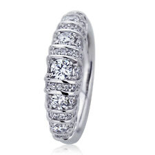 6mm Platinum Plated Silver 0.7ct Round CZ Domed Band Wedding Engagement Ring set