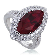 21mm Platinum Plated Silver 3.8ct Ruby Marquise CZ Wedding Engagement Ring set