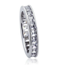 3.5mm Platinum Plated Silver 2ct CZ Channel Set Wedding Engagement Band Ring set