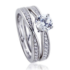 6mm Platinum Plated Sterling Silver 1ct CZ Wedding Engagement Bridal Ring Set