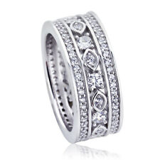 8mm Platinum Plated Silver 1ct CZ Wedding Engagement Band Eternity Ring set