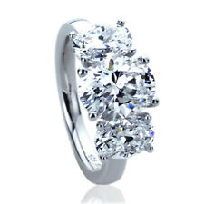 9mm Platinum Plated Silver 3.5ct Oval CZ Three Stone Wedding Engagement Ring set