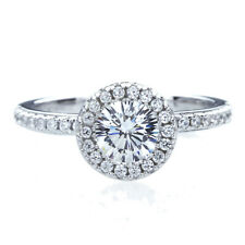 7mm Platinum Plated Silver 1ct 16 Cupid CZ Halo Wedding Engagement Ring set