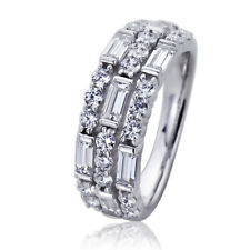 7mm Platinum Plated Sterling Silve Baguette CZ Wedding Engagement Ring set