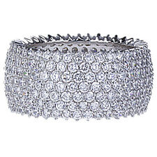 11mm Rhodium Plated Sterling Silver 7 Layer Row CZ Pave Set Eternity Band Ring