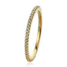 1.5mm 14K Yellow Gold Plated Sterling Silver CZ Pave Setting Eternity Band Ring
