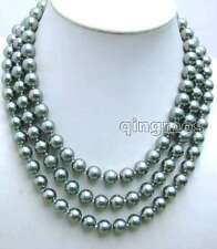 "SALE BIg 10mm Silver Gray Round Shell Pearl 3 strand 17-19"" NECKLACE-nec5841"