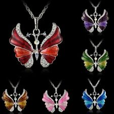 10PCS Christmas Butterfly Crystal Pendant Necklace Sweater Silver Long Chain NEW
