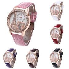 Women's Quartz Wristwatch Leather Band Rhinestone Eiffel Towel Fashion