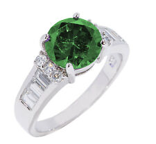 Large Round Green Emerald Simulated Diamond Fashion Sterling Silver Ring
