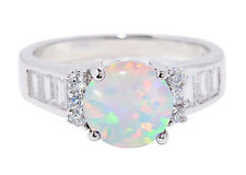 Large Round White Fire Opal Simulated Diamond Fashion Sterling Silver Ring