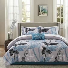 NEW Twin Full Queen Cal King Bed Gray Grey Blue Floral 9 pc Comforter Sheets Set