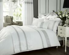 LUXURY DIAMANTE KIMBERLEY WHITE PINTUCK DUVET QUILT COVER BEDDING BED LINEN SET