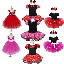 Kids Girl Baby Toddler Minnie Mouse Outfit Party Fancy Tutu Dress up Costume+Ear