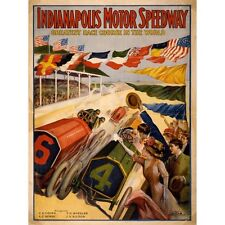 INDIANAPOLIS MOTOR SPEEDWAY 1909 VINTAGE AUTO RACING ADVERTISING POSTER