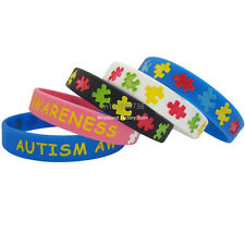 50pcs/lot AUTISM AWARENESS Silicone Debossed Filled in Colour Wristband Bracelet