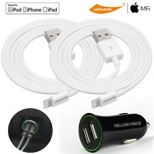 2x Premium MFI iPhone iPad Air Lightning USB Sync Charger Cable&2.4A Car Charger