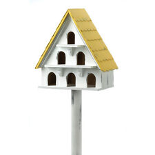 Cape Cod Bird Condo Birdhouse with Multiple Portholes Wooden Garden Accent NEW