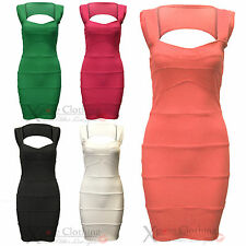 WOMENS LADIES SLEEVELESS RIBBED PANEL BODYCON SWEETHEART DRESS SEXY PARTY TOP