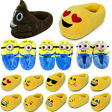 Unisex Winter Warm Emoji Minions Cute Plush Antiskid Winter Home Slippers Shoes