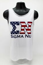 Sigma Nu Fraternity White American Flag USA Tank Top ΣN Shirt