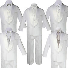 Baby Boy White Satin Shawl Lapel Tuxedo SILVER Satin Bow Necktie Vest Set