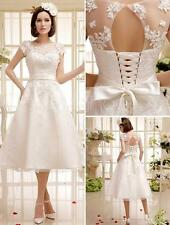 Short Wedding Dresses Short Sleeve Applique Crystal Tea-Length Bridal Gown W2014