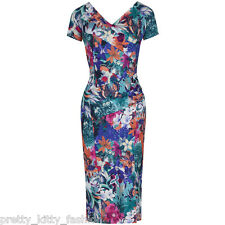 PRETTY KITTY 40s NAVY BLUE FLORAL WIGGLE PENCIL VINTAGE COCKTAIL DRESS 8-18