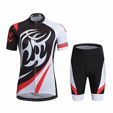 Mens Cycling Wear Jersey & Short Set Bicycle Shirts & Padded Bike Shorts Fire