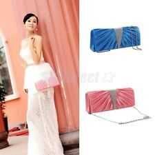 Ladies'Luxurious Pleated Satin Evening Clutch Handbag Shoulder Chain Bag