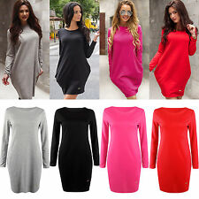 Women's Long Sleeve Baggy Crew Neck Shirt Pockets Long Tops Blouse Mini Dress