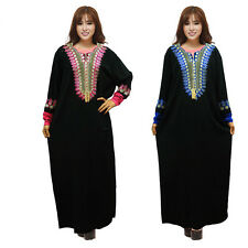 Plus Size Muslim Loose Maxi Abaya Dress kaftan Islamic Arab Black Dress Clothes