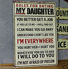 RULES FOR DATING MY DAUGHTER EMBOSSED RAISED LETTERING METAL signs SHOP GARAGE