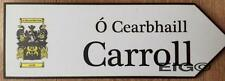 CARROLL - Family Crest Coat of Arms on Wooden Sign - Wall Plaque