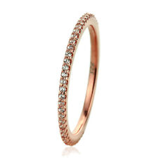 Fine 1.5mm 14K Rose Gold Plated Silver CZ Pave Setting Eternity Band Ring