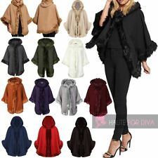 LADIES NEW FUR LINED HOODED CAPE WOOL FAUX FUR WARM PONCHO COAT