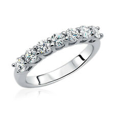 Women 3mm Rhodium Plated Sterling Silver Ring CZ Seven Stone Anniversary Band