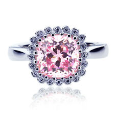 Women 8mm Platinum Plated Silver 2.5ct Cushion Pink CZ Engagement Ring set