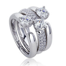 Women 13mm Platinum Plated Silver 1.5ct CZ Engagement Bridal Ring set