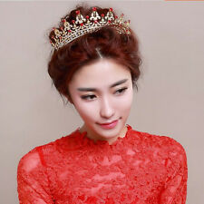 Bridal Crystal Tiara Crowns Queen Pageant Veil Headband Wedding Hair Accessory