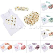 Baby Girls Top Shirt+Pants Bloomers Headband Set 3PCS Heart Print Clothes Summer