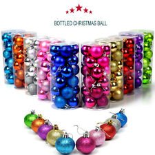 Christmas Balls Baubles 24Pc Glitter Xmas Tree Ornament Hanging Decoration Party